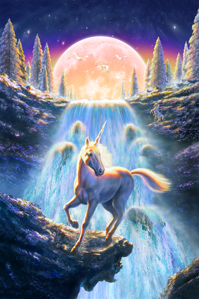 Unicorn Sunset wall mural
