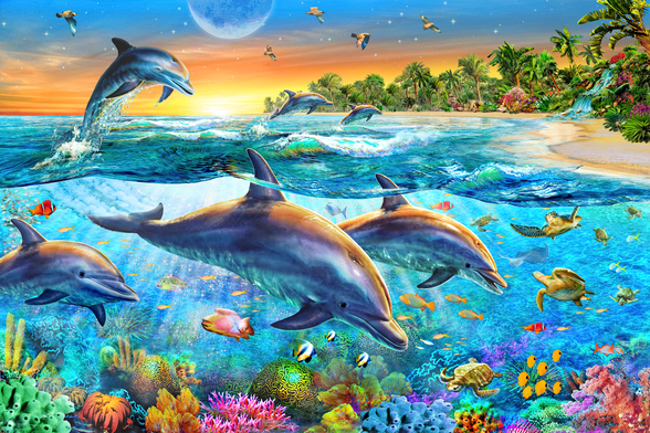 Dolphin Bay wallpaper mural