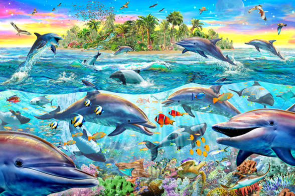 Dolphin Reef wall mural