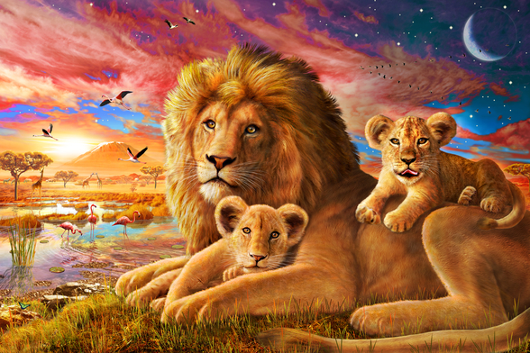 Lion Sunrise wallpaper mural