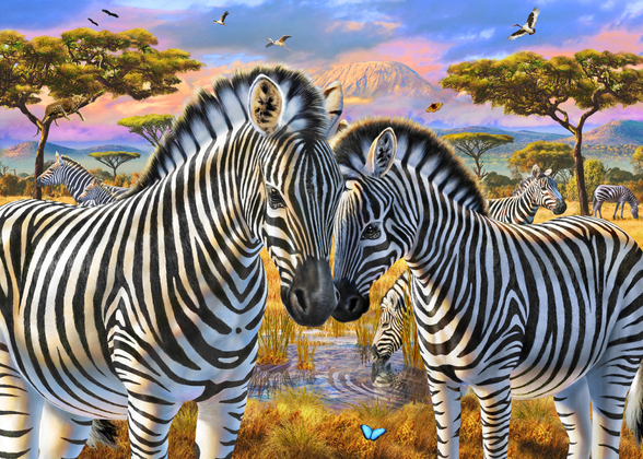 Loving Zebras wallpaper mural