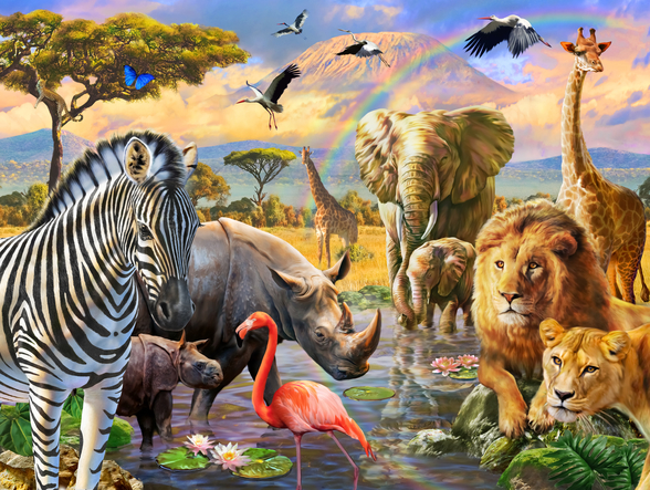 Savanna Watering Hole mural wallpaper