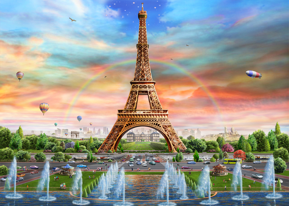 Eiffel Tower at Dusk wallpaper mural