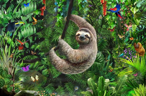 Sloth in Jungle mural wallpaper