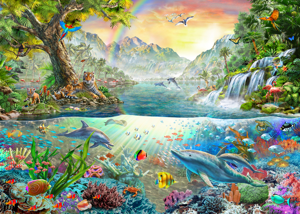 Sea and Land Paradise wallpaper mural