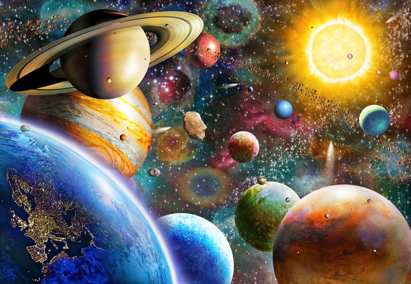 Planets in Space mural wallpaper