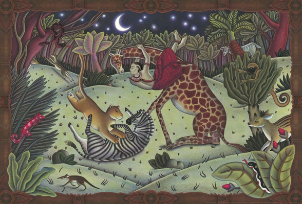 Leopard and the Flora Forest mural wallpaper