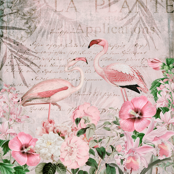 Pink Flamingo Flowers wallpaper mural