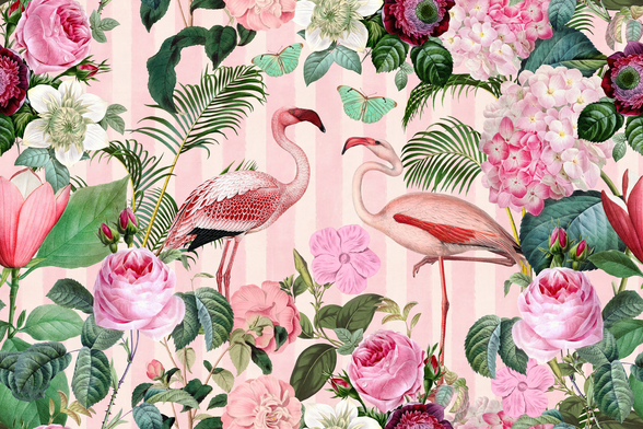 Flamingo Rendezvous mural wallpaper