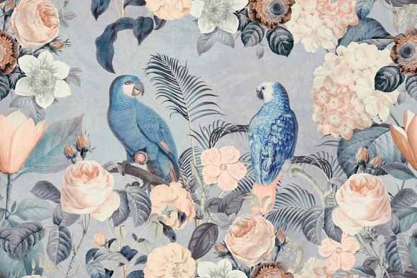 Parrots in Love wall mural