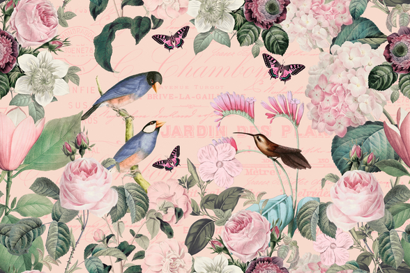 Pink Bird Romance mural wallpaper