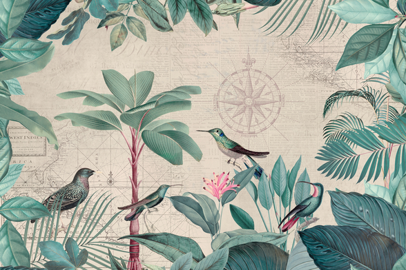 Pale Tropical Journey Birds wall mural