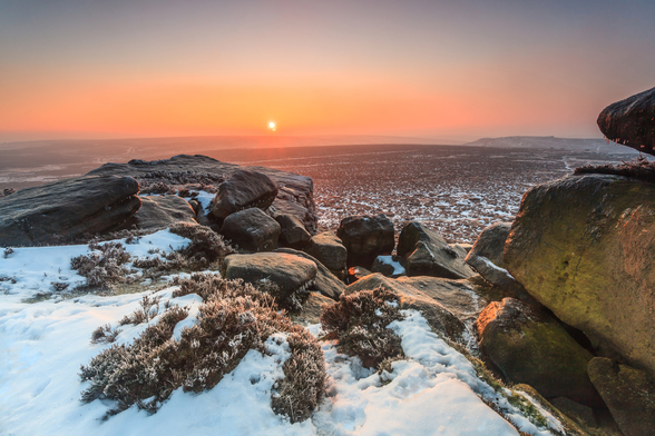 Stanage Edge Winter Sunrise mural wallpaper
