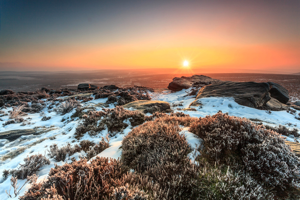 Stanage Edge Winter Sunburst wall mural