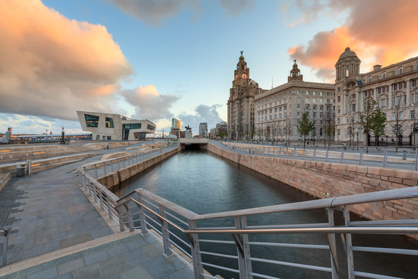 Liverpool Liver Building Sunrise mural wallpaper