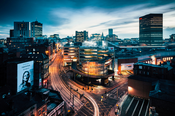 Manchester Skyline Night mural wallpaper