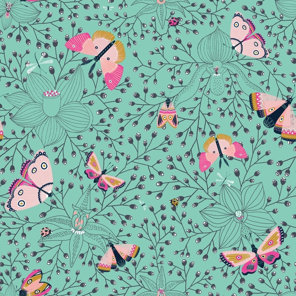 Butterflys and Bugs mural wallpaper