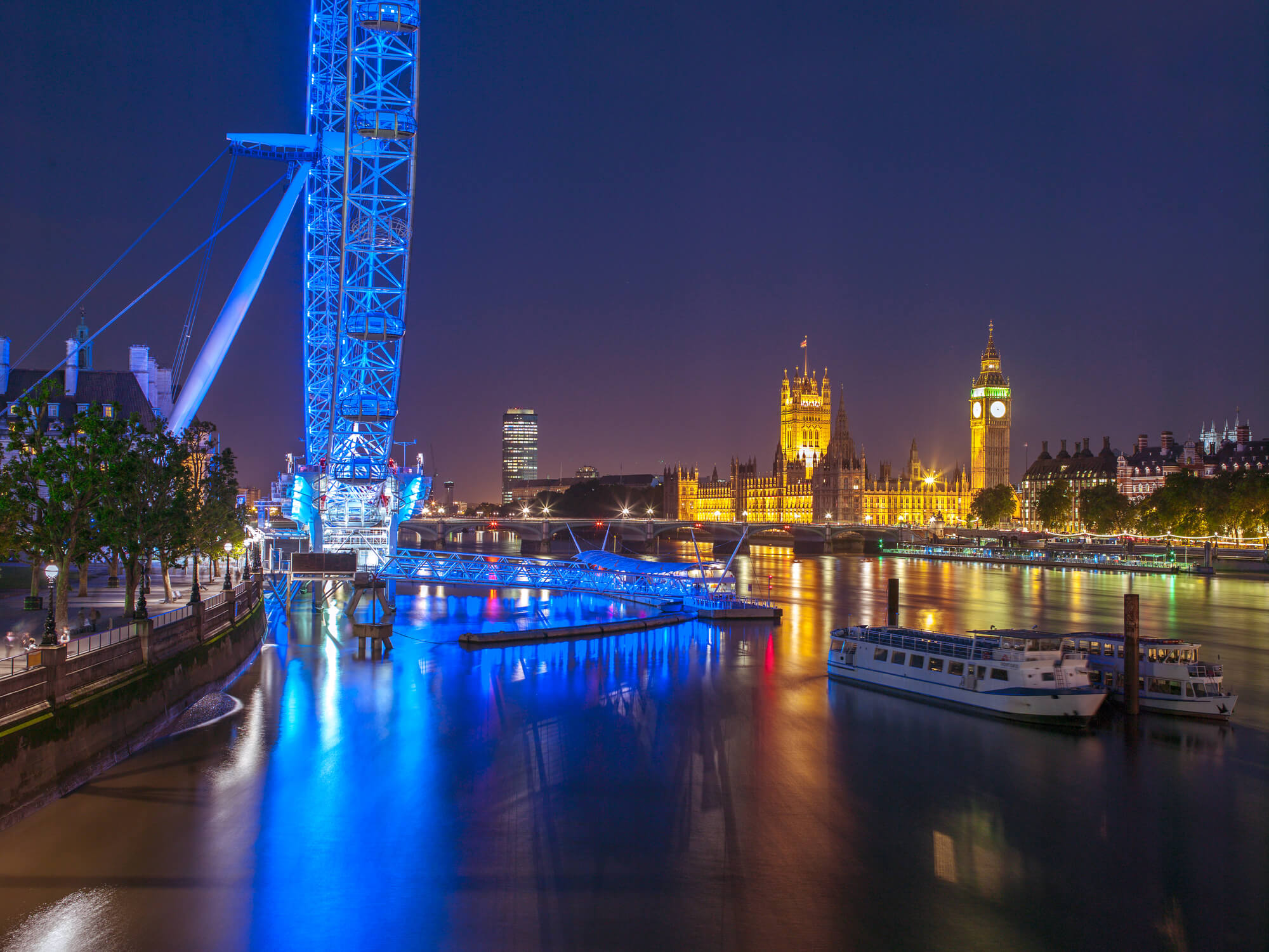 night lights at the london eye wall mural & night lights at the