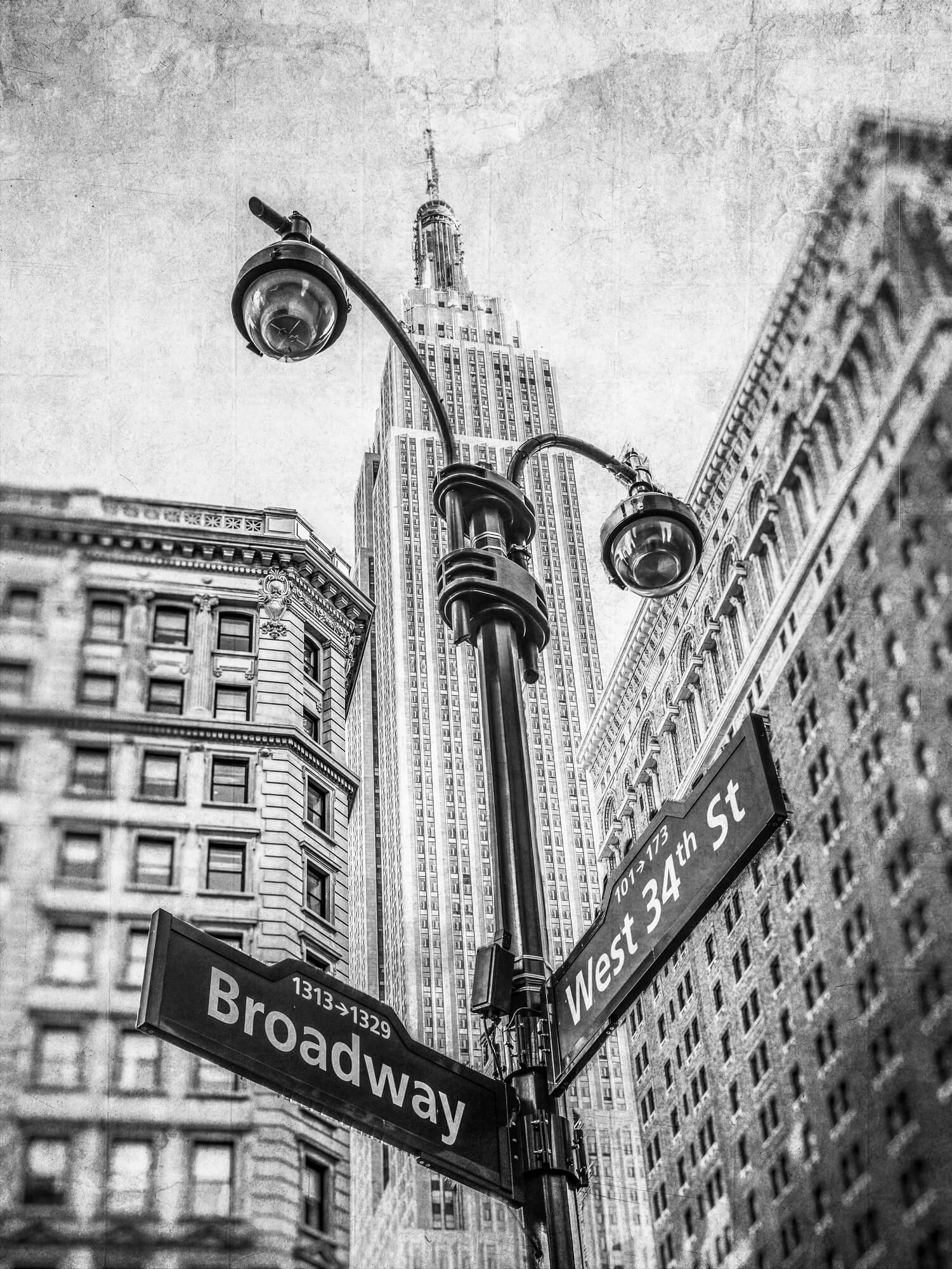 Empire State Building And Lamp Post