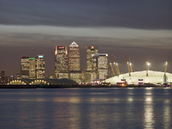 Canary Wharf and the Millennium Dome mural wallpaper