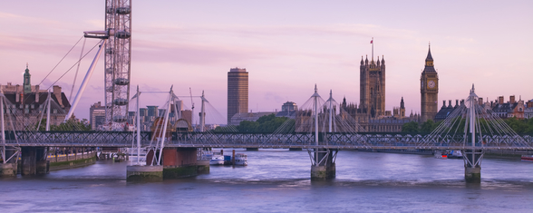 Houses of Parliament over the River Thames wallpaper mural