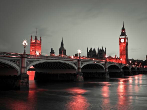 Westminster Bridge with Red Lights mural wallpaper