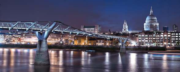 Millenium Bridge at Night wallpaper mural