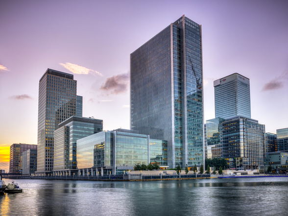 Canary Wharf at Dusk wall mural