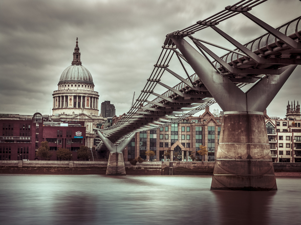 View of St Paul's Cathedral and Millennium Bridge mural wallpaper