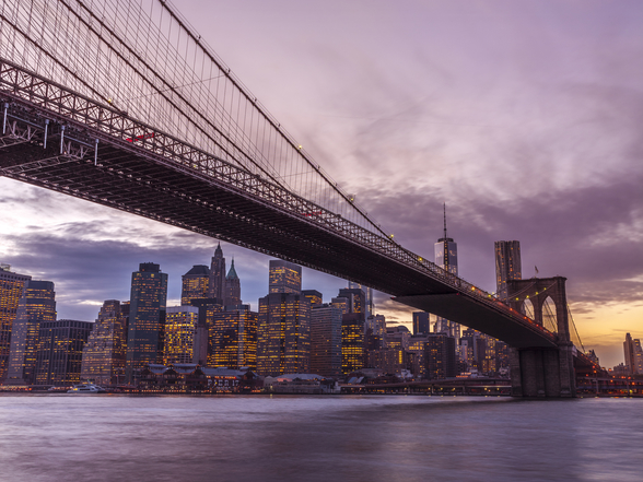 Brooklyn Bridge Skyline at Dusk mural wallpaper