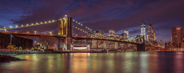 Brooklyn Bridge Colourful Panoramic wallpaper mural