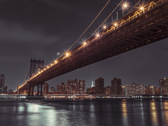 Brooklyn Bridge Sky at Night wallpaper mural