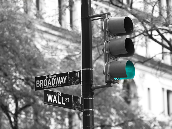 Wall Street and Broadway Road Sign mural wallpaper