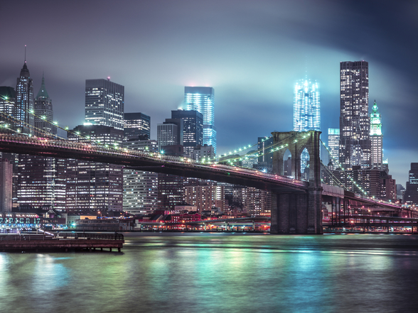 Bright Blue Brooklyn Bridge mural wallpaper