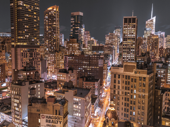 Lower Manhattan Lights wallpaper mural