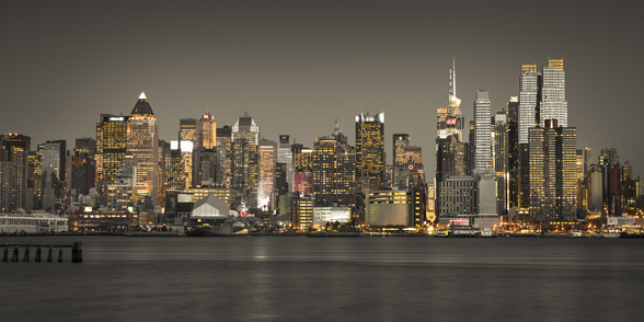 New York Skyscraper Lights mural wallpaper