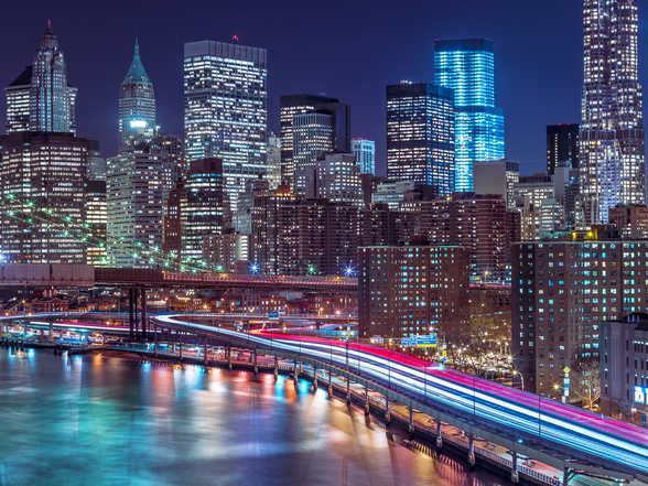 Strip lights on streets of Manhattan wallpaper mural