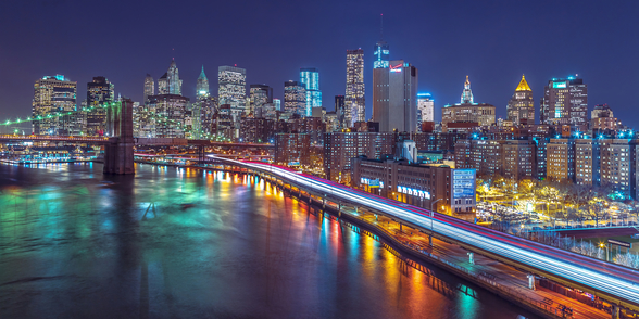 Bright Lights Manhattan by East River mural wallpaper