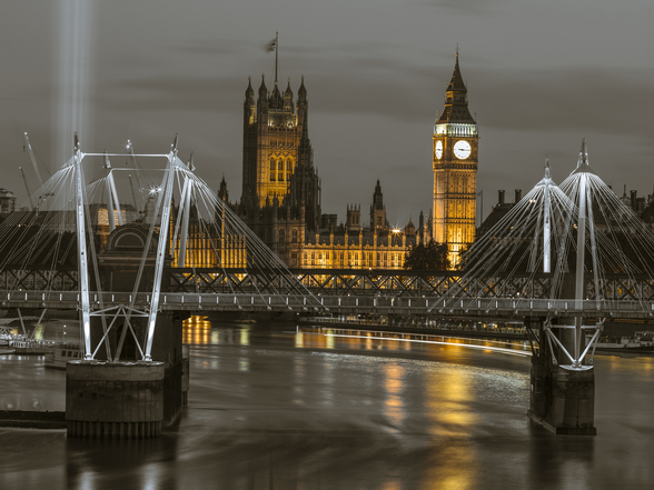 Golden Jubilee over River Thames wallpaper mural