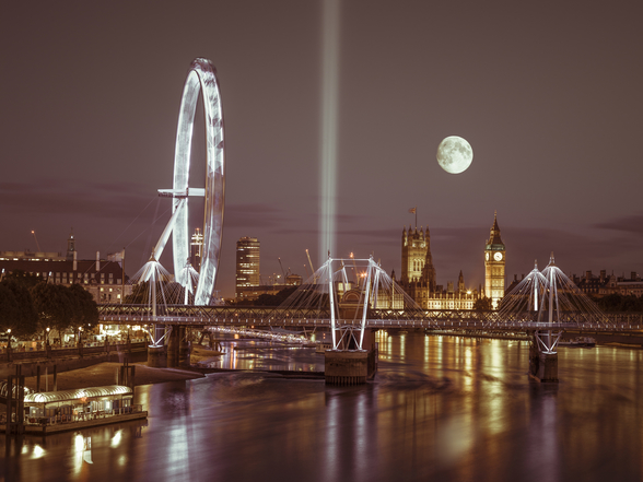 Westminster and Jubilee Bridge Moonlight mural wallpaper