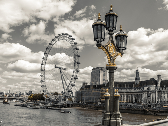 Lampost with London Eye and County Hall wall mural