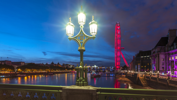 Street lamp with London Eye London wallpaper mural