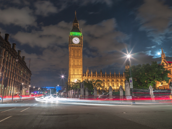 Westminster Abby and Big Ben Night Lights wallpaper mural
