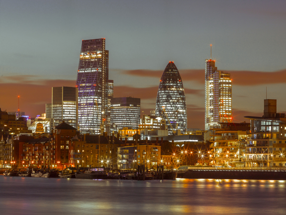 London Skyline with the Gherkin Building at Night mural wallpaper