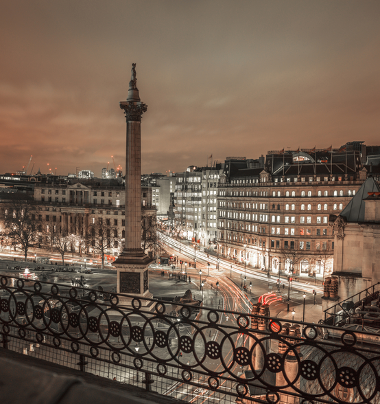Evening view of Trafalgar Square, London wallpaper mural