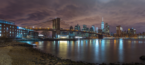 Brooklyn Bridge and Manhattan Skyline With Reflections wallpaper mural