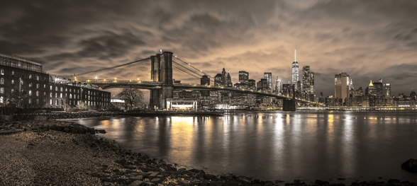 Brooklyn Bridge and Manhattan Dramatic Skyline mural wallpaper