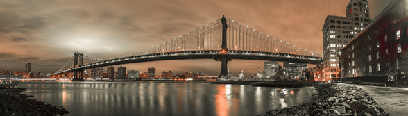 Manhattan Bridge and New York City Orange Skyline wall mural
