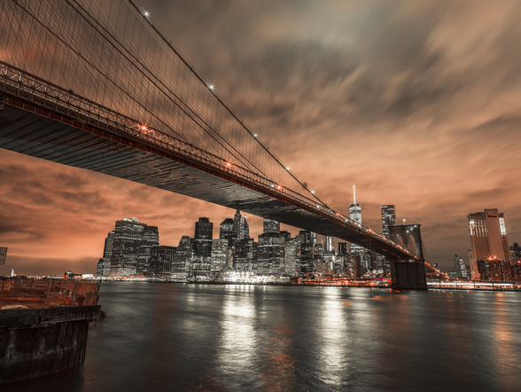Brooklyn Bridge Moody Orange Sky wall mural