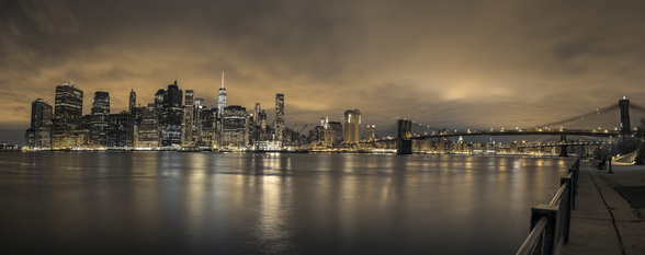 Moody Lower Manhattan Skyline mural wallpaper
